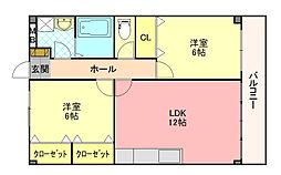 セゾン八尾東[2階]の間取り