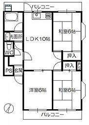 船本マンション[2階]の間取り