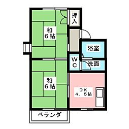 らぽーる鈴 B棟[2階]の間取り