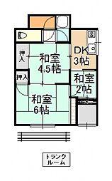 近鉄大阪線 堅下駅 徒歩5分の賃貸テラスハウス 1階2Kの間取り