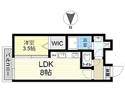 餅ヶ浜マンション(仮) 4階1LDKの間取り