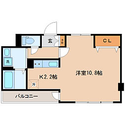 仙台市営南北線 愛宕橋駅 徒歩10分の賃貸マンション 4階ワンルームの間取り