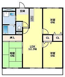 愛知県豊田市上挙母2丁目の賃貸アパートの間取り