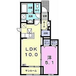 名鉄竹鼻線 竹鼻駅 徒歩25分の賃貸アパート 1階1LDKの間取り