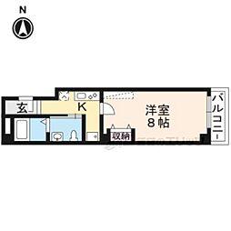 京福電気鉄道北野線 北野白梅町駅 徒歩15分の賃貸マンション 3階1Kの間取り