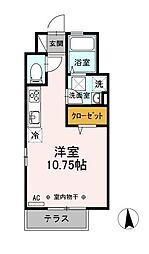 JR中央本線 国分寺駅 徒歩16分の賃貸アパート 1階ワンルームの間取り