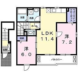 レヴェランスB[2階]の間取り