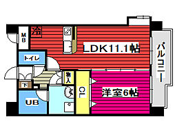 仙台市営南北線 北仙台駅 徒歩8分の賃貸マンション 7階1LDKの間取り