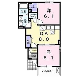 香川県観音寺市原町の賃貸アパートの間取り
