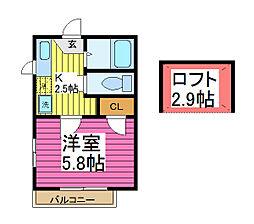 埼玉県川口市芝5-の賃貸アパートの間取り