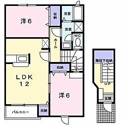 千葉県茂原市道表の賃貸アパートの間取り