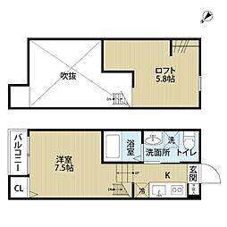 東武野田線 東岩槻駅 徒歩5分の賃貸アパート 1階ワンルームの間取り