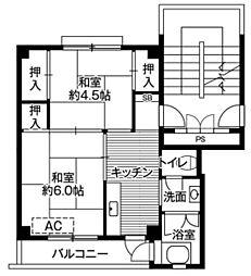 ビレッジハウス鳥居本1号棟 1階2Kの間取り