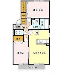 ファミール田井城[B201号室号室]の間取り