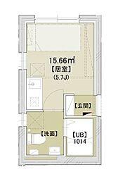 MODECO OYAMA〜モデコオオヤマ〜 2階ワンルームの間取り