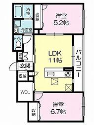 兵庫県高砂市米田町古新の賃貸マンションの間取り