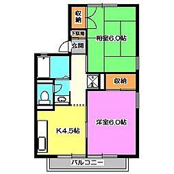 東京都西東京市ひばりが丘北4丁目の賃貸アパートの間取り