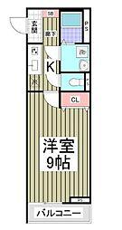 小田急小田原線 柿生駅 徒歩3分の賃貸アパート 2階1Kの間取り