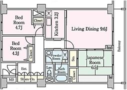 埼玉県草加市草加4丁目の賃貸マンションの間取り