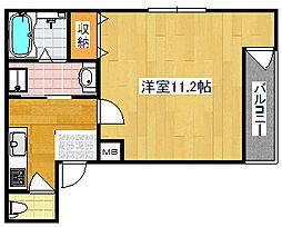 Osaka Metro四つ橋線 北加賀屋駅 徒歩10分の賃貸マンション 1階1Kの間取り
