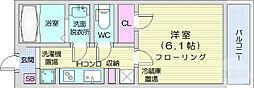 仙台市地下鉄東西線 宮城野通駅 徒歩7分の賃貸マンション 2階1Kの間取り