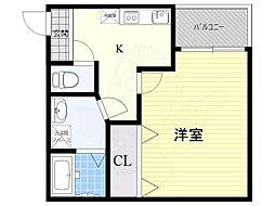 KTIレジデンス茨木 3階1Kの間取り