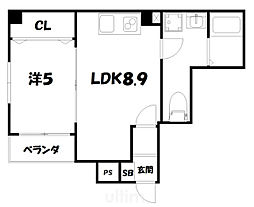 More五条II 5階1LDKの間取り