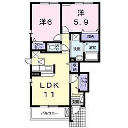 熊本電気鉄道 御代志駅 バス16分 富の原下車 徒歩10分の賃貸アパート 1階2LDKの間取り