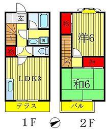 [テラスハウス] 千葉県松戸市西馬橋広手町 の賃貸【/】の間取り