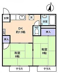 ベルハイム勝田台A棟[1階]の間取り