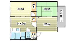 兵庫県姫路市玉手の賃貸アパートの間取り
