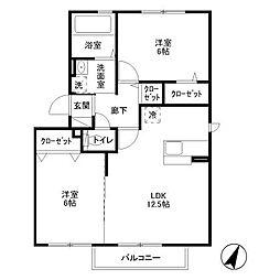東京都国立市泉3丁目の賃貸アパートの間取り