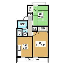 セジュールアルカディア B棟[1階]の間取り