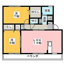 愛知県岡崎市松橋町1丁目の賃貸アパートの間取り