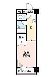 泉尾4丁目1Kマンション[9階]の間取り