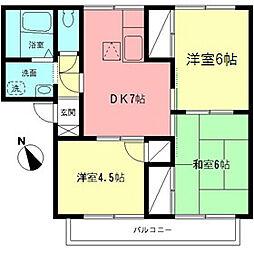 神奈川県相模原市南区新磯野1丁目の賃貸アパートの間取り
