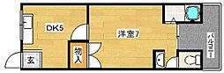 大阪府茨木市下中条町の賃貸マンションの間取り