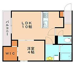 メゾンクレール竹下駅前壱番館 1階1LDKの間取り