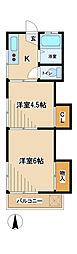 石坂コーポ[2階]の間取り