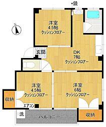 あすかマンション[206号室]の間取り