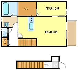 兵庫県姫路市青山5丁目の賃貸アパートの間取り