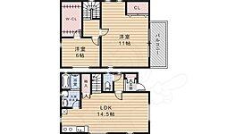 阪急宝塚本線 池田駅 徒歩9分の賃貸一戸建て 1階2LDKの間取り