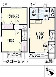 [タウンハウス] 愛知県知多市八幡字平井 の賃貸【/】の間取り