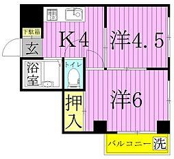 パークサイドコーポ[4階]の間取り
