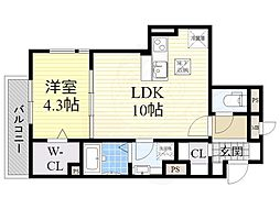 Osaka Metro御堂筋線 江坂駅 徒歩8分の賃貸アパート 1階1LDKの間取り