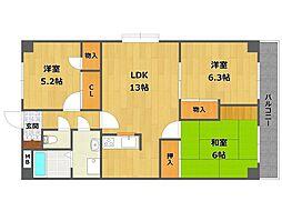 クレール3[3階]の間取り