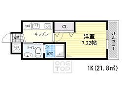 サムティ京橋フルス 2階1Kの間取り