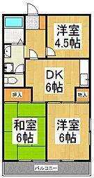 ラリーマンション[3階]の間取り