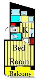 JR高崎線 尾久駅 徒歩10分の賃貸マンション 3階1Kの間取り