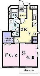 香川県丸亀市垂水町の賃貸アパートの間取り